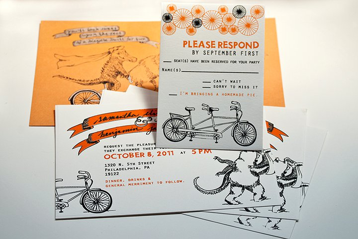 Printed Wedding Invitations: Screen Printed Wedding Invitation Packages