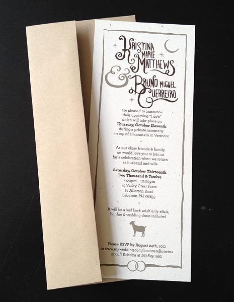 Screen Printed Wedding Invitation